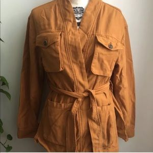 Free People Mustard Cargo Utility Military Jacket